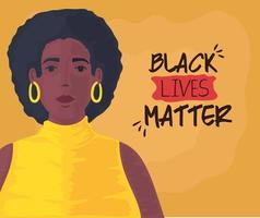 black lives matter banner with beautiful woman, stop racism concept vector