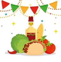 Mexican food poster with taco, vegetables, bottle of tequila and garlands hanging vector