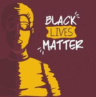 black lives matter banner with man, stop racism concept vector