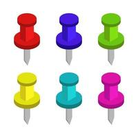 Set Of Push Pins On White Background vector