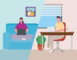pareja trabajando desde casa vector