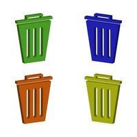 conjunto de basura de basura isométrica vector