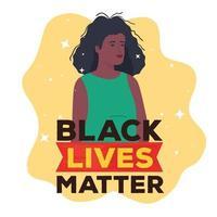 La vida negra importa banner con mujer, detener el concepto de racismo vector