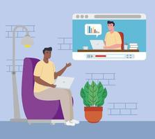 Afro man in a video conference with laptop working from home vector