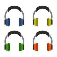 Set Of Headphones On White Background vector