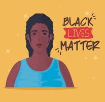black lives matter banner with woman, stop racism concept vector