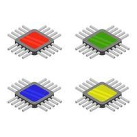 Isometric Microchip Set vector