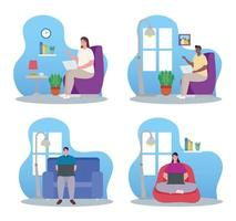 Young people working from home set vector