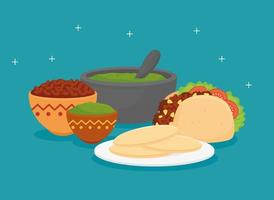 mexican food poster with taco and set of delicious ingredients vector