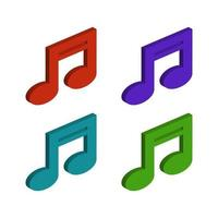 Isometric Music Note Set vector