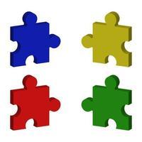 Isometric Puzzle Set vector