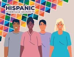 national hispanic heritage month and multiethnic group of people together vector