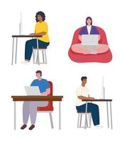 People working from home vector