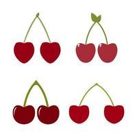 Conjunto de cerezas sobre fondo blanco. vector