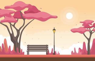 escena de otoño con árboles de sakura japoneses y banco vector