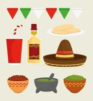 Mexican food icon set