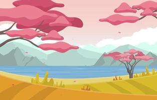 Escena de otoño con árboles de sakura japoneses y paisaje panorámico de montañas vector