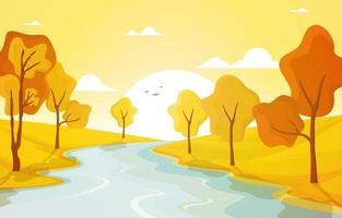 Escena dorada de otoño con árboles, río y sol. vector