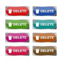 Delete Button Set On White Background vector