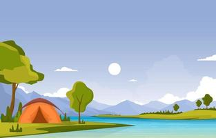 Camping Tents Next to River and Mountains vector