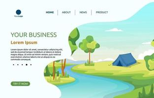 Landing Page with Camping Tent by a River vector