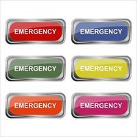 Emergency Button Set On White Background