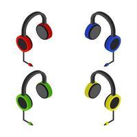 Conjunto de auriculares de música sobre fondo blanco. vector