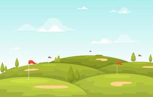 Golf Course with Red Flag, Trees, and Sand Traps vector