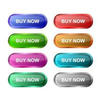 Set Of Buy Now Buttons On White Background vector