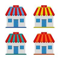 Set Of Shops On White Background