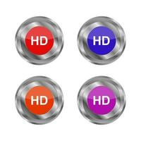 Set Of Hd Buttons On White Background vector