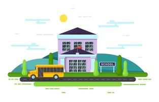 School Building with Yellow School Bus Outside vector