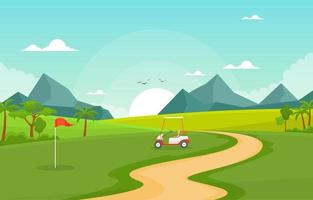 Golf Course with Red Flag, Golf Cart, and Mountains