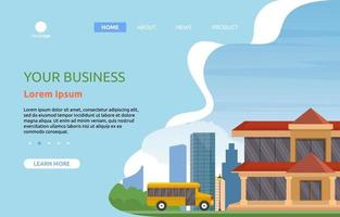 Landing Page with Large School Building with Trees and Skyline vector