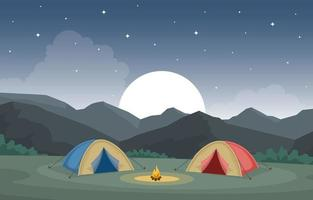 Camping Tents and Campfire in the Mountains at Night vector