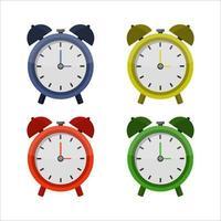 Conjunto de reloj despertador sobre fondo blanco. vector