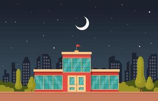 School Building at Night Under Moon vector