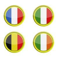 conjunto de banderas europeas sobre fondo blanco vector