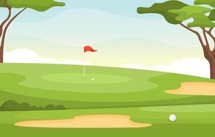 Golf Course with Red Flag, Trees, Sand Traps and Golf Ball vector