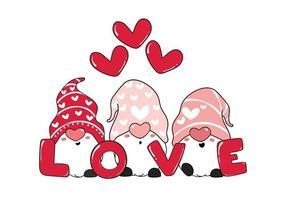 lindos tres gnomos rosas y texto de amor con corazones, día de San Valentín, ilustración vectorial de dibujos animados para tarjetas de felicitación, camisetas, prendas para imprimir vector