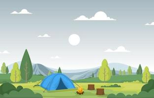 Camping Tent and Campfire in a Mountain Valley vector