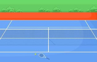 Outdoor Tennis Court Surrounded by Grass vector
