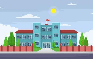Large School Building with Trees and Flag vector