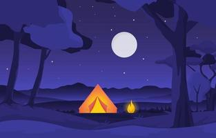 Camping Tent with Campfire in Park at Night vector