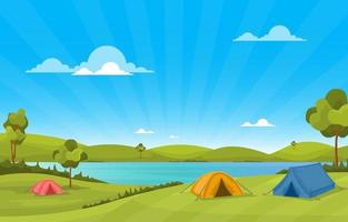 Camping Tents and Campfire By River and Mountains vector