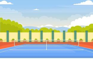 Outdoor Tennis Court Surrounded by Trees vector