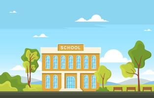Large School Building with Trees and Benches vector