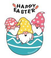 tres lindos gnomos en huevo de pascua roto, feliz pascua lindo dibujo animado doodle vector pastel