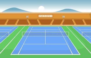 Outdoor Tennis Court with Bleachers vector