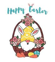lindo conejito gnomo en cesta de flores de huevo, vector de doodle de dibujos animados de feliz pascua